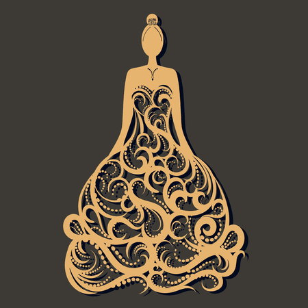 Ornate wedding dress laser cut. Template for greeting card ,wedding, invitation, gift card; bookmark and label with space for your text. Vector illustration design.