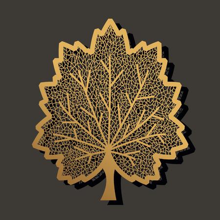 Taglio laser foglia d'acero. Modello di progettazione per carta, metallo, legno, carta da parati, sfondo. Disegno di illustrazione vettoriale Archivio Fotografico - 95528442
