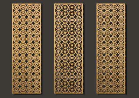 Conjunto de paneles de grabado láser. Patrón geométrico de partición contemporáneo para corte de metal, pantalla de papel, láser metálico, máquina de madera, corte de pared. Ilustración de vector de diseño interior árabe.