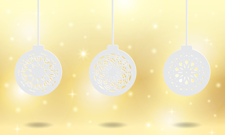 Set of christmas balls ornament for seasonal. Laser and die cut template for paper, metal, engraving, stencil, metal, wooden. Decoration in holiday. Vector illustration design