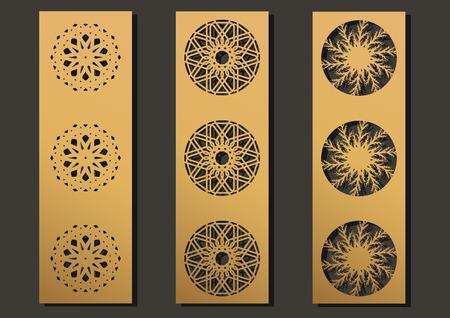 laser engraving panels set. Contemporary partition geometric pattern for metal cutting, paper screen, laser metallic, wood machine, wall cut.  Arabian interior design vector illustration.