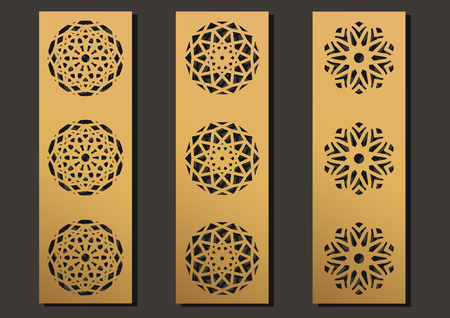 laser engraving panels set. Contemporary partition geometric pattern for metal cutting, paper screen, laser metallic, wood machine, wall cut.  Arabian interior design vector illustration.