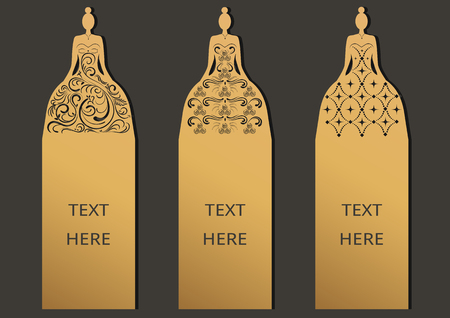 Laser cut with Wedding set of ornate cards. Template for greeting card ,wedding, invitation, bookmark and label with space for your text. Vector illustration design.