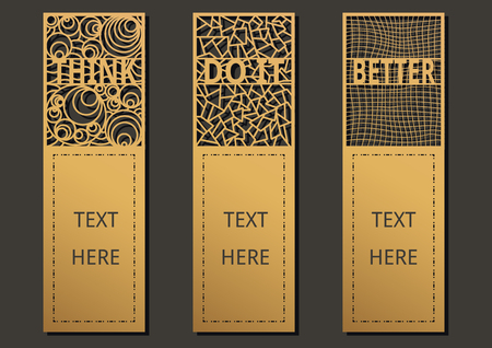 Die and laser cut with Wording set of ornate cards. Template frame for greeting card ,wedding, invitation, bookmark and label with space for your text. Vector illustration design. Illustration