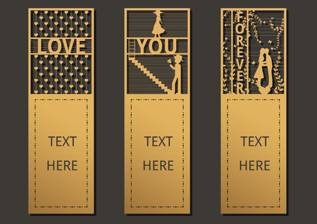 Laser cut with Wording set of ornate cards. Template for greeting card ,wedding, invitation, motivation tag, small card, bookmark and label with space for your text. Vector illustration design.