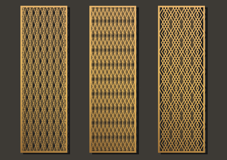 Laser cut template panels set. Die cut geometric pattern rectangle shape for metal , wooden, paper, engraving, stencil. Vector illustration design.