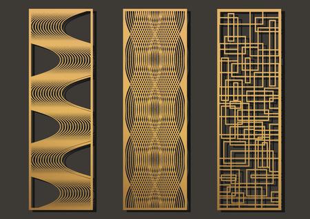 レーザーカットテンプレートパネルセット。金属、木製、紙、彫刻、ステンシルのためのダイカット幾何学模様長方形形状。ベクトルイラストレー