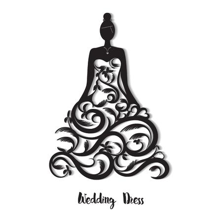 Ornate wedding dress for laser cut. Template for wedding card, greeting card, invitation. card; bookmark