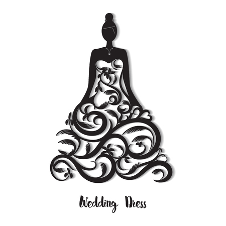 Robe de mariée ornée pour découpe au laser. Modèle de carte de mariage, carte de voeux, invitation. carte; signet