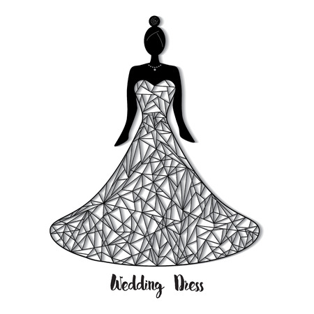 Ornate wedding dress for laser cut. Template for wedding card, greeting card, invitation. card; bookmark