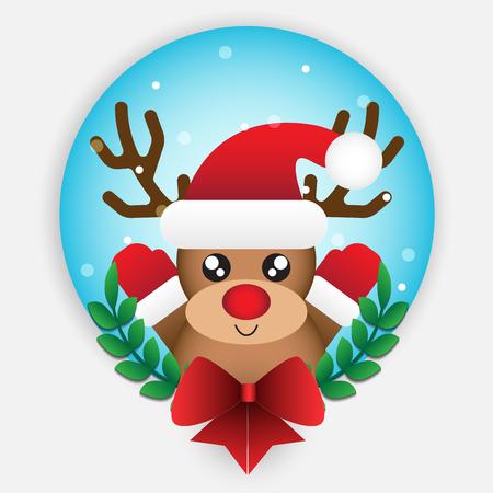 Cute reindeer element for christmas decoration. Vector illustration design.