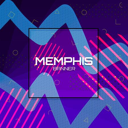 Memphis Background. Colorful abstract with geometric shape. Vector Illustration Design. Illusztráció