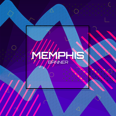 Memphis Background. Colorful abstract with geometric shape. Vector Illustration Design. Illustration