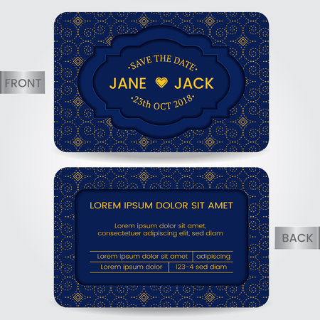Wedding invitation card or Template for Save the date, Member card, Birthday card, Greeting card. Vector Illustration
