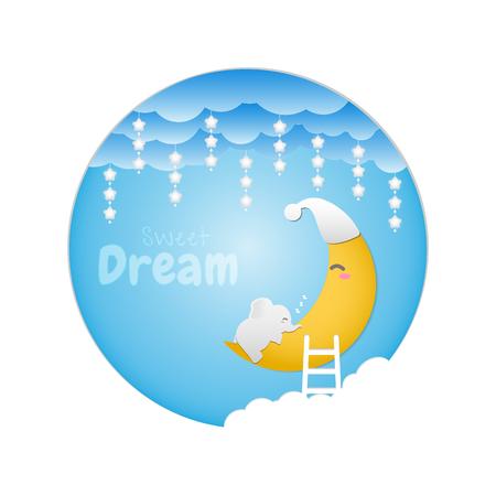 Sweet dream. Baby elephant sleeping on the moon. Vector illustration design. Illusztráció