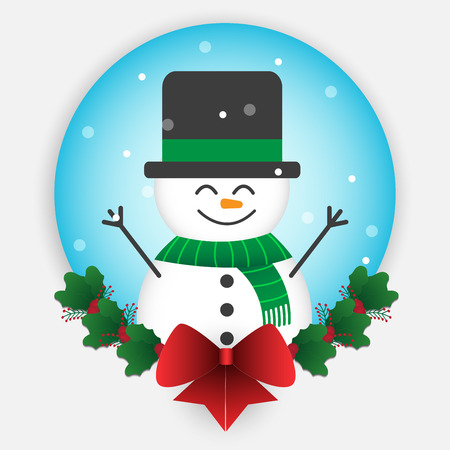 Cute snowman element for christmas decoration. Vector illustration design.