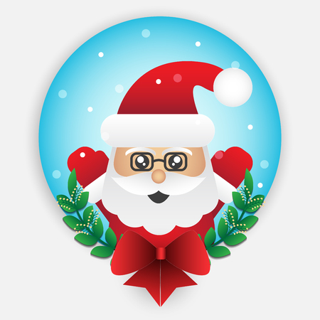 Cute santa claus element for christmas decoration. Vector illustration design. Illusztráció