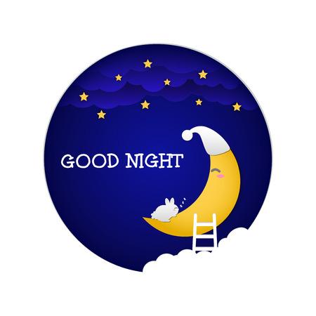 Good night. Baby rabbit sleeping on the moon. Vector illustration design. Illustration