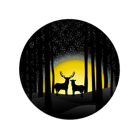 Romantric night christmas background with couple deer and the big moon in the forest. Vector illustration design.