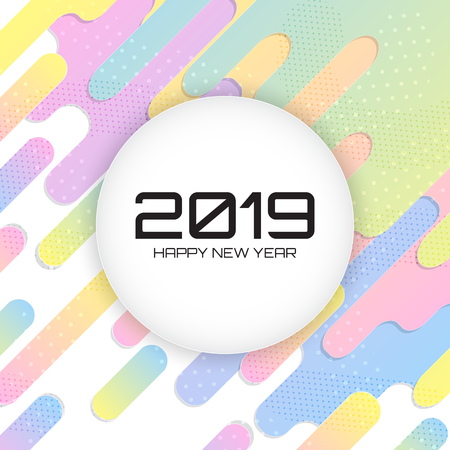 2019 Happy new year. Memphis Background. Colorful abstract with geometric shape. Vector Illustration Design.