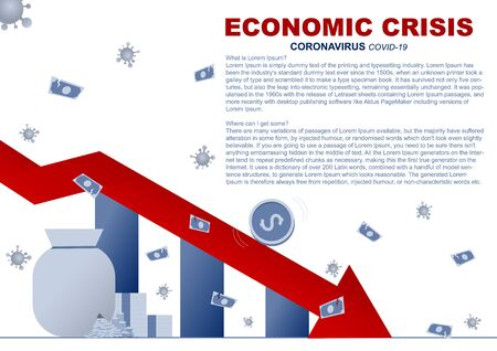 Business concept. Economic crisis from coronavirus(COVID-19). Vector flat illustration design.