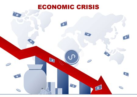 Business concept. World Economic crisis from coronavirus(COVID-19). Vector flat illustration design. 向量圖像