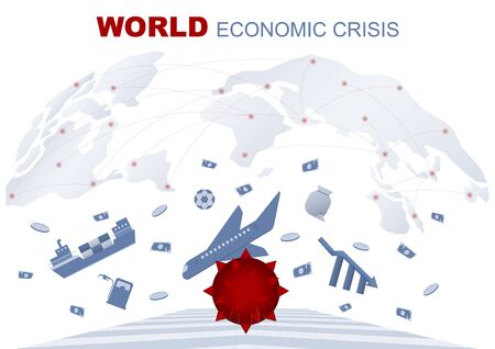 Business concept. The global economic crisis from corona virus affects exports, tourism, stocks, oil, finance and sports. Vector flat illustration design. Illustration
