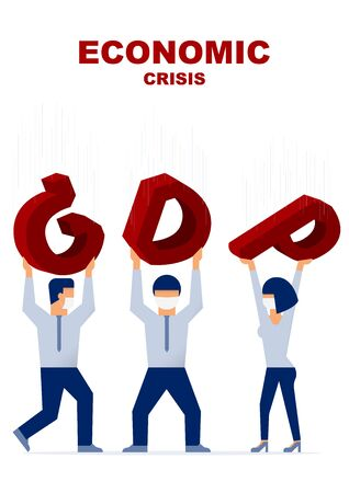 Economic crisis. Businessman are carrying the falling GDP. Vector flat illustration design.