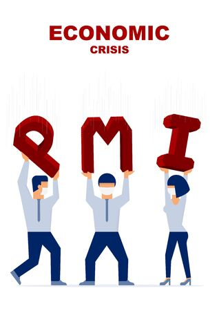 Economic crisis. Businessman are carrying falling PMI(Purchasing Manager Index). Vector flat illustration design.