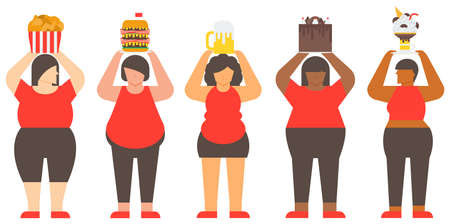 Diversity fat woman and junk food. Unhealthy woman and Unhealthy food. Flat illustration vector. 矢量图像