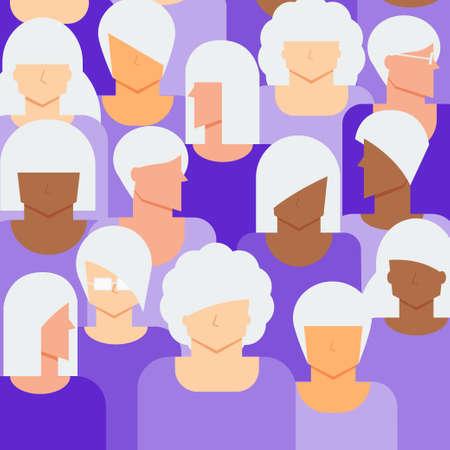Women senior citizen concept. Diversity elder women people background. Illustration