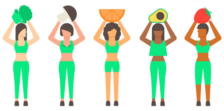Diversity healthy woman and healthy food. Healthy concept. Flat illustration vector. Illustration