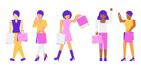 Shopping concept. Diversity women carrying shopping bags. Vector flat illustration.