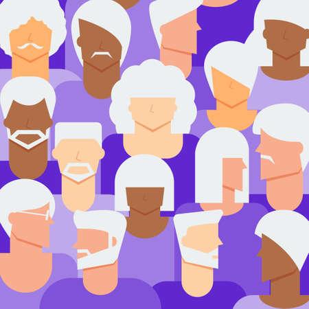 Women & Men senior citizen concept. Diversity elder women & men people background.
