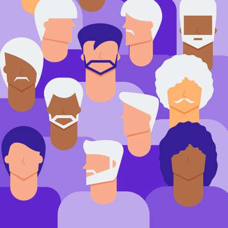 Senior and young men citizen concept. Diversity men people background. Illustration