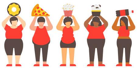 Diversity fat woman and junk food. Unhealthy woman and Unhealthy food. Flat illustration vector. Illustration