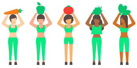 Diversity healthy woman and healthy food. Healthy concept. Flat illustration vector. 矢量图像