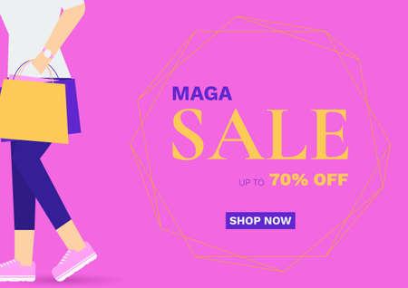 Sale promotion background with woman carrying a shopping bags. Vector Flat Illustration. 向量圖像