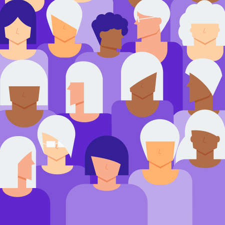 Senior and young women citizen concept. Diversity women people background. Illustration