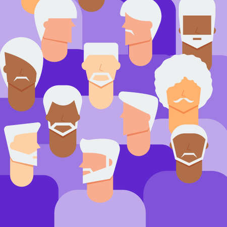 Men senior citizen concept. Diversity elder men people background.