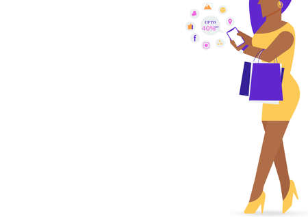Black woman character holding shopping bag and playing mobile phone to share on social media and space for your text isolated on white background. Vector Flat Illustration. Illustration
