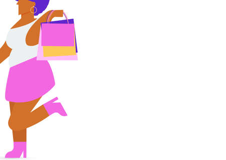 Black woman character carrying a shopping bag and space for your text isolated on white background. Vector Flat Illustration. Illustration