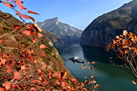 Scenery of Yangtze River at Qutang Gorge, China Stock Photo