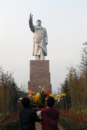 the chairman: Chongqings largest stainless steel statue of Chairman Mao