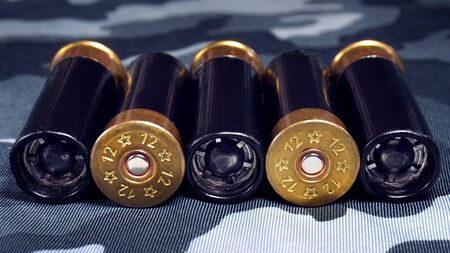 Police ammunition. ammo for the gun on a camouflaged background.