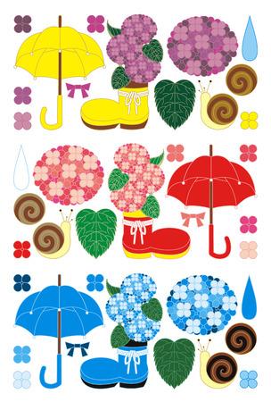 梅雨の季節  イラスト・ベクター素材