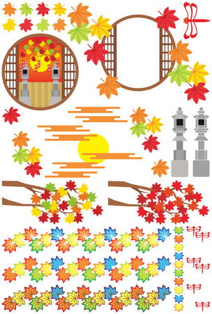 japanese autumn illustrations Vector