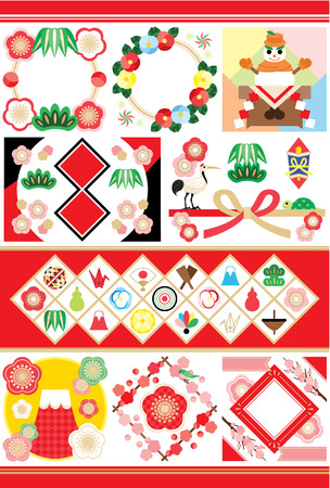 Japanese style New Years illustrations
