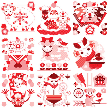 Japanese style character illustrations of cute sheep red pink