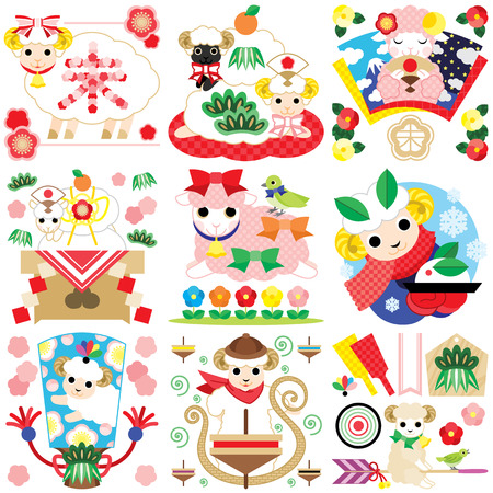 Japanese style character illustrations of cute sheep colorful
